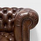 Original Chesterfield-Sofa, handgefärbt braun