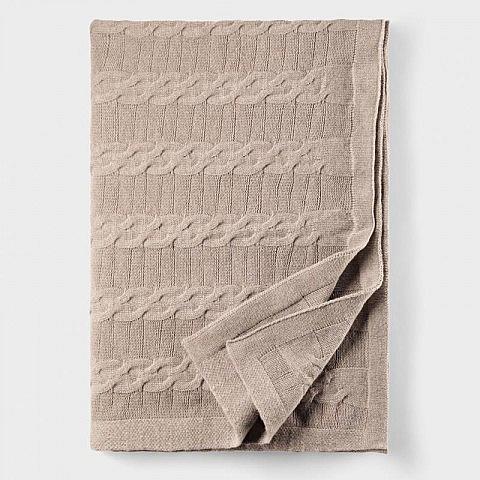Lammwoll-Kaschmir-Decke mit Zopfmuster
