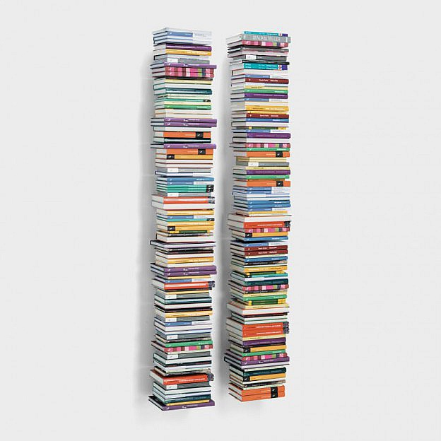 Schwebender Bücherturm Stahl, 166 cm, 2er-Set