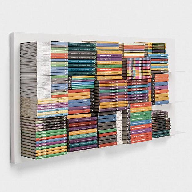Schwebendes Bücherregal 143 x 72cm, weiß