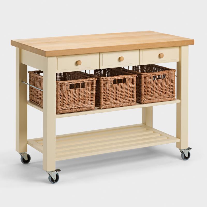 Küchenwagen schmal  Küchenwagen mit 3 Weidenkörben aus Buchen-Holz - Biber.de
