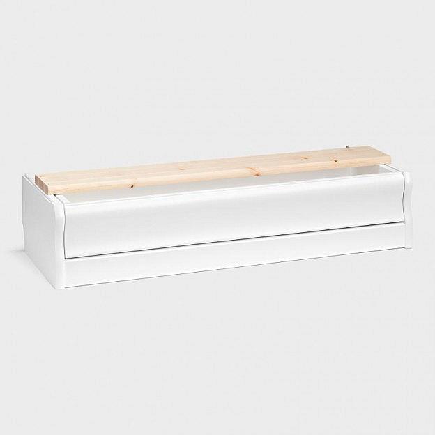 Bodensockel mit Schublade für Vitrine klein und mittel, Birke weiß