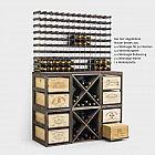 Weinregal mit Rollauszug für 2 Weinkisten