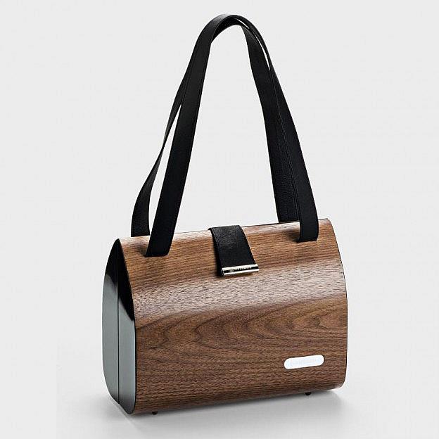 Handtasche Leder/Nussholzfurnier