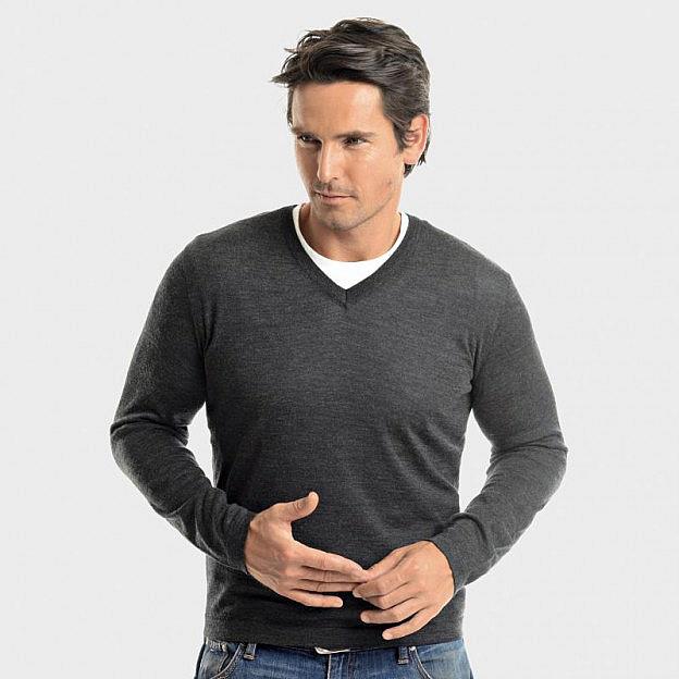 Pullover mit V-Ausschnitt Merinowolle/Seide