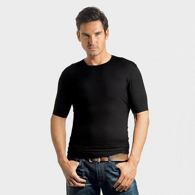 Rundhals-Shirt Viskose Stretch, schwarz