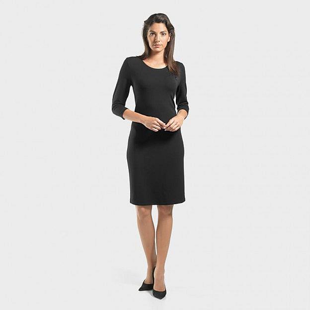 Kleid Rundhals, ¾-Arm Viskose, schwarz