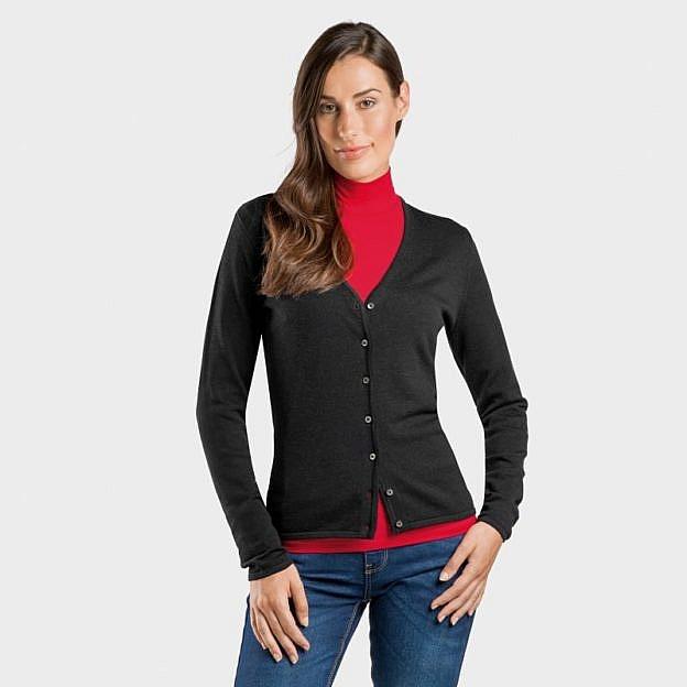Damen-Strickjacke Merino-/Baumwolle, schwarz