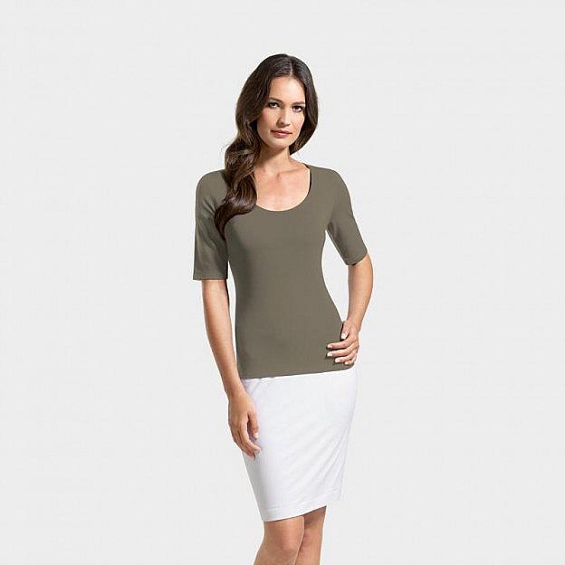 T-Shirt 1/2-Arm Viskose, olive