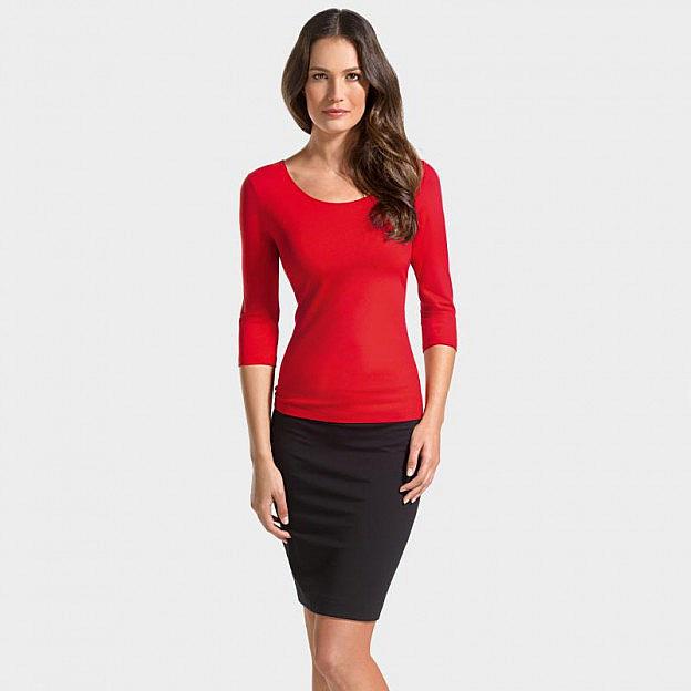 Shirt ¾-Arm Viskose, rot