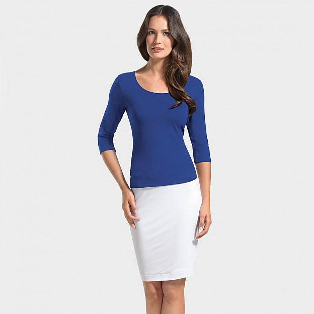 Shirt ¾-Arm Viskose, kobalt