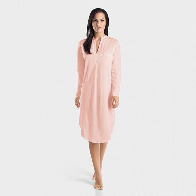 Hanro-Damenschlafkleid V-Kragen langarm, rosa