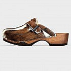 Damen-Holzschuh mit Kuhfell-Leder natur, flexible Holzsohle
