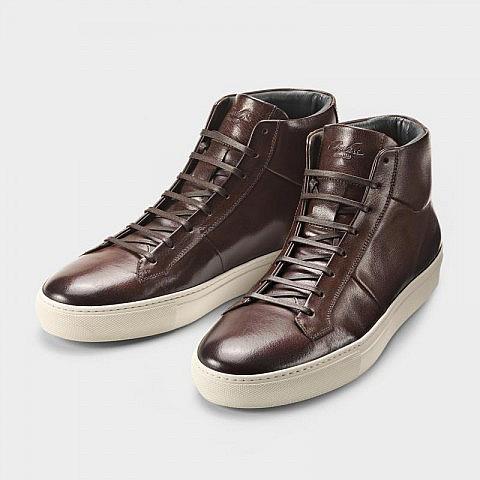 Herren-Sneaker Rindsleder hoch, braun