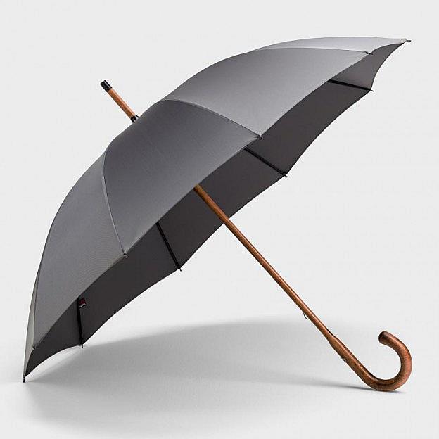 Herren-Regenschirm Vollholzstock, grau
