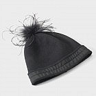 Damenmütze Merinowolle/ Straussenfeder