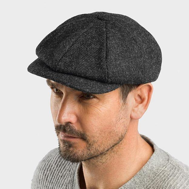 Mütze Gatsby, Harris Tweed, anthrazit