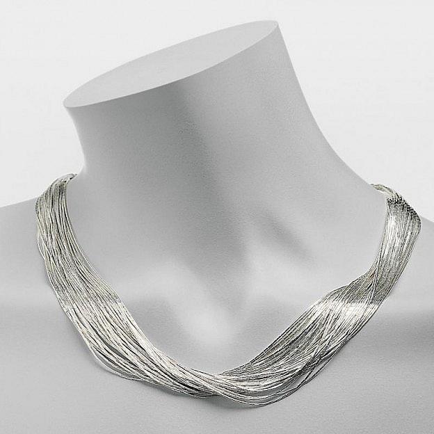 Halskette mit 50 Strängen aus flüssigem Sterlingsilber 925