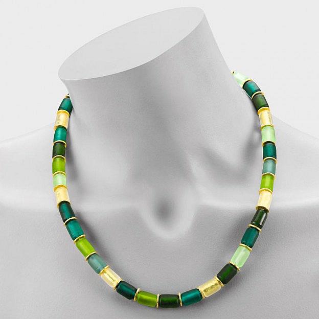 Collier Muranoglas zylindrisch, grün