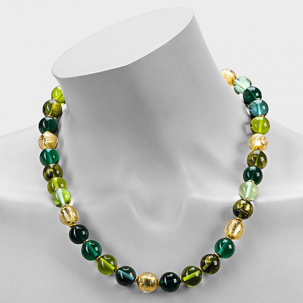 Collier Muranoglas rund, grün
