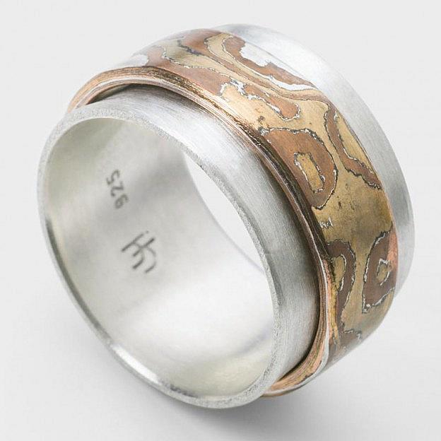 Japanischer Ring Mokume Gane Sterlingsilber