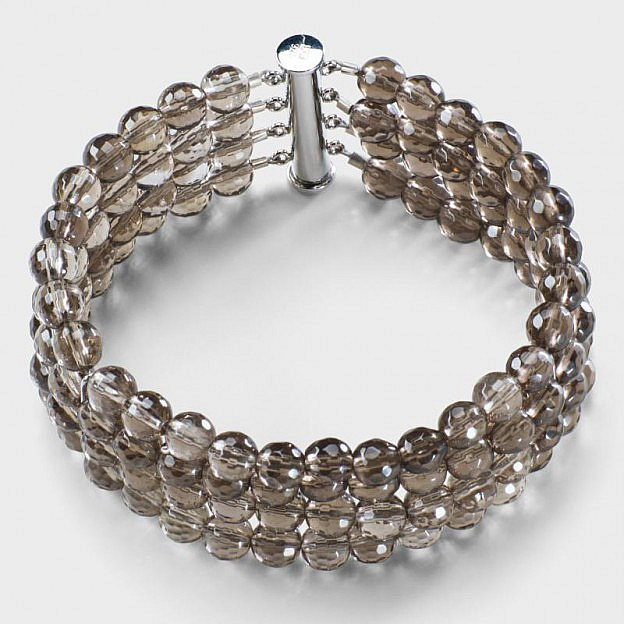 Perlenarmband Rauchquarz, Länge 17,5 cm
