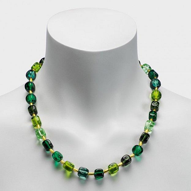 Collier Muranoglas Würfel, grün