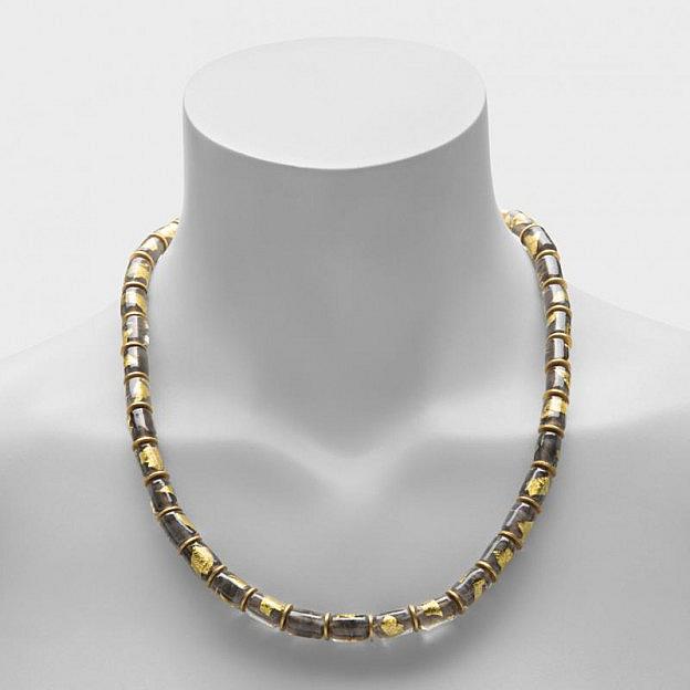 Collier Muranoglas zylindrisch, gold/grau