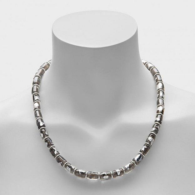 Collier Muranoglas zylindrisch, silber/grau