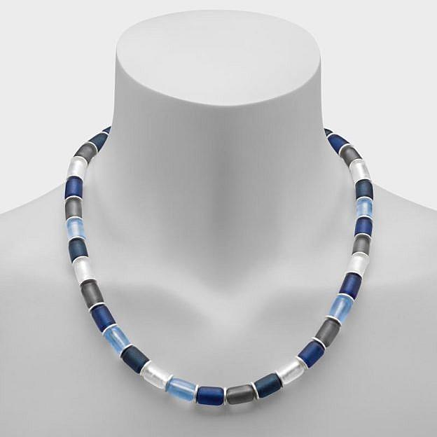 Collier Muranoglas zylindrisch, blau