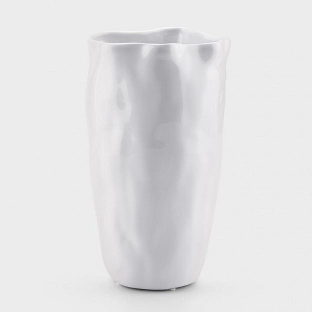 Vase Welle Keramik, weiß