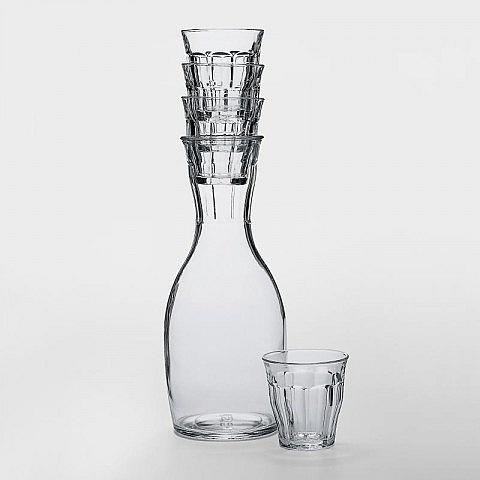Wasserkaraffe mit 4 Picardie-Gläsern