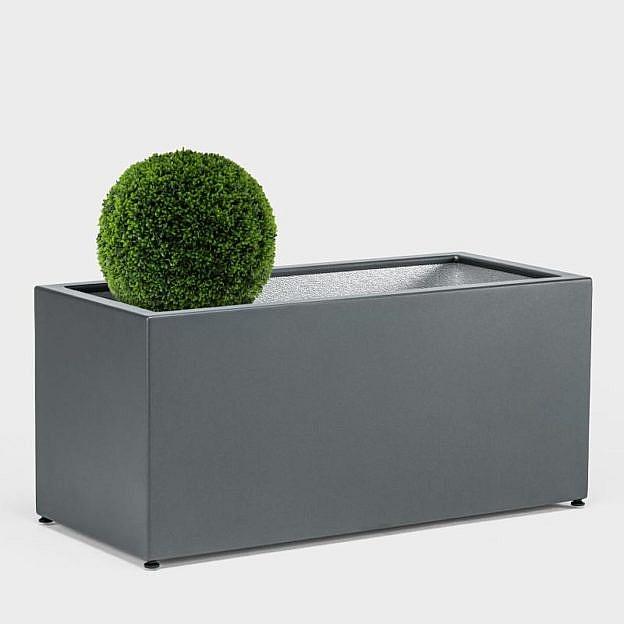 Pflanzgefäß Quader Aluminium, grafit