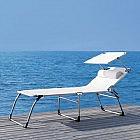 Komfort-Dreibein-Sonnenliege mit Dach, weiß