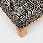 Lounge-Beistelltisch Aluminium/Geflecht/Teak