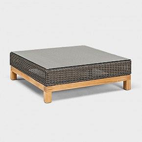 Lounge Beistelltisch Aluminium/Geflecht/Teak